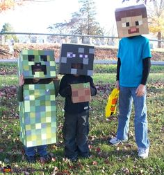 Minecraft Creatures - DIY Halloween Costumes brina better start now and work over time to make these, this lady took a month we have four days!!