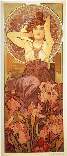 Page: Amethyst    Artist: Alphonse Mucha    Style: Art Nouveau (Modern)    Genre: allegorical painting    Tags: flowers-and-plants, female-portraits 慕夏
