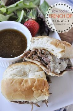 Slow Cooker French Dip Sandwiches from Your HomeBased Mom found on SlowCookerFromScratch.com