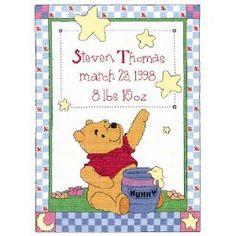 Winnie the Pooh birth record cross stitch