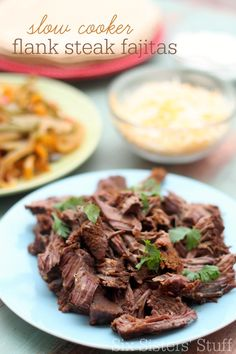 These Slow Cooker Flank Steak Fajitas are one of the easiest, most delicious meals I've ever made! | SixSistersStuff.com