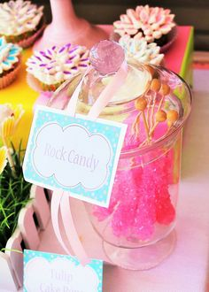 Pink Baby Shower Party rock candy!  See more party ideas at CatchMyParty.com!