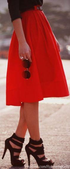 Red Knee Length Skirt, Black Heels, Black Long Sleeve Button Up, Thin Black Belt.