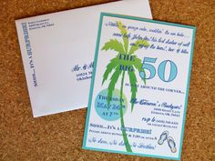 parti invit, jimmi buffett, billi 50th, birthday party invitations, birthday ide, beach parti, birthday parties, birthdays, tropic birthday