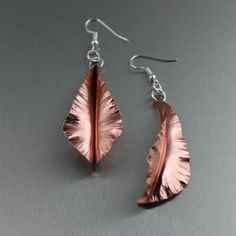 Fold Formed Copper Leaf Earrings by San Francisco jewelry designer John S Brana