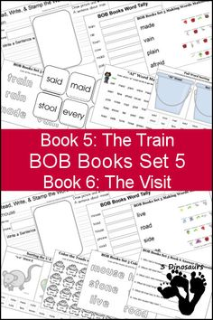 """Free BOB Books Set 5 Books 3 & 4 Printables: Include writing, coloring, decoding & matching, answer questions, """"ai"""" and """"oa"""" and more. Plus some extra pages as well - 3Dinosaurs.com"""