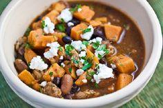 sweet potato black bean chili with goat cheese