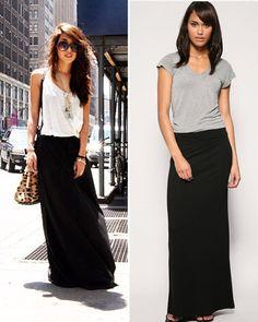 Ideas for a black maxi skirt