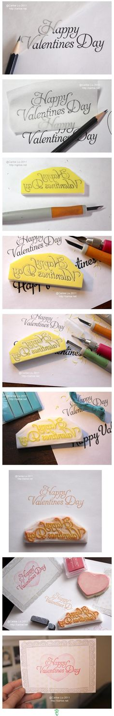 Handcarved stamp -- pictorial tutorial