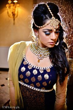 indian wedding navy and gold anarkali and jewelry