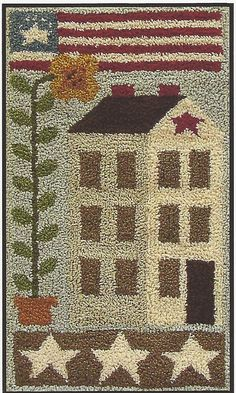 Primitive Folk Art Punchneedle Pattern:  AMERICAN SALTBOX