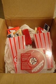 Another fun movie night date idea. Make up tickets on your computer for whatever movie you rent and add popcorn and treats. I already have the popcorn containers from Target.