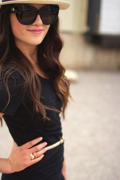 cat eyes, dress, sunglass, outfit, pink lips, belt, lip colors, shade, hat