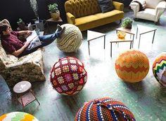 Yarn bomb an exercise ball.