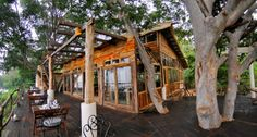 A great treehouse café / restaurant / lodge!  Different and such a cool building.  Ken River Lodge.  Great photo!