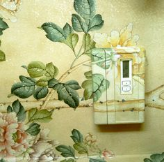Guest bathroom, New Jersey Countryside, with thermostat painted to match Chinese wallpaper, so it disappears. Howard Slatkin