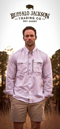 Men's Classic Technical Fishing Shirt by Buffalo Jackson, Trimmer Fit, All the Details, Men's Prep Shorts #madeinusa