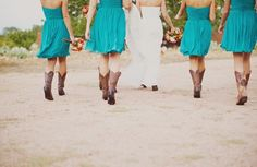 bouquets, homespun, orange, red, yellow, bridesmaid dresses, short, strapless, sweetheart, turquoise, whimsical-bright, brown, cowboy, cowboy boots, women shoes, shabby chic, Bridesmaids, Fall, barnyard, aqua, bridesmaid, country, dresses, party, pictures, theme, wedding, teal, dress, Round Mountain, Texas