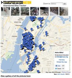 TransportationNation's crowdsourced map of abandoned bikes in NYC