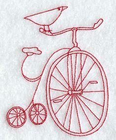 bird on bike/redwork