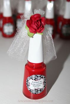 Here is a unique and cute bridal shower favor ... Take nail polish bottles and turn the into little Brides!