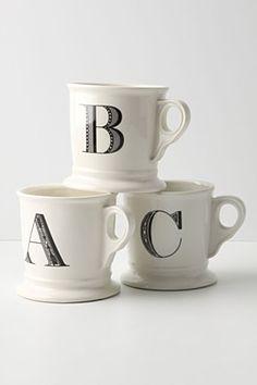 Monogrammed mugs (great gift, huge cuppa)