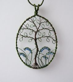 Bluebell Wood wire wrapped and beaded tree pendant By LouiseGoodChild