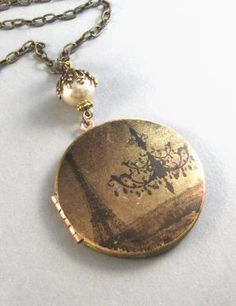 Vintage Brass Locket Necklace with Paris & Chandelier