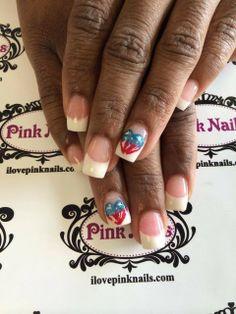American Flag Heart Nails