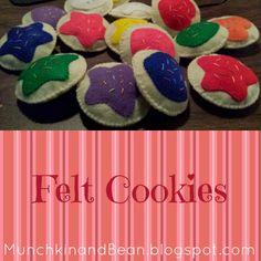 Munchkin and Bean: Felt Cookies munchkin, craft, bean, felt cooki, daycar idea, felt activ, cookies