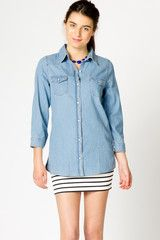 buttons, chambray buttonup