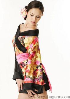 Black Sexy Kimono Gown