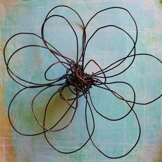 Large wall flower made from a wire