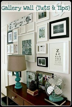 Gallery wall for hallway...all white frames, a mix of quotes, artwork, pics and favs.