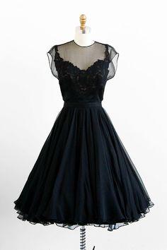 Vintage 1950s black silk chiffon illusion neckline dress