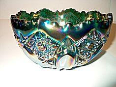 Vintage Ruffled Edge Carnival Glass Bowl