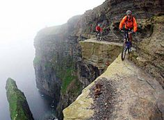 Biking on a cliff