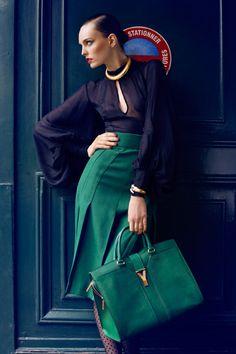 green skirts, ysl bags, skirt green, ysl bag black, emerald green bag, emerald bag, black pleated skirt outfit, designer bags, emerald green skirt