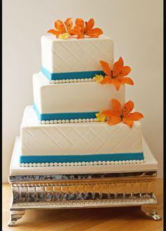 Orange teal wedding cake