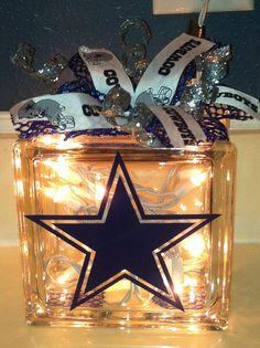 craft, cowboy lit, glass block, bows, lit glass, 2100, cowboy pin, dallas cowboys bow, dalla cowboy