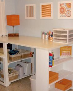 Cute and easy way to organize you craft supplies. I ould really use a new desk. #DIY #Crafts #Desk #Organizing