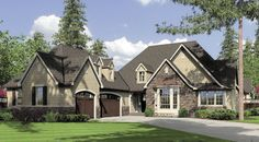 Looking for a larger home but have a narrow lot? The Alberg #houseplan 7000 has the perfect design and features 3 bedroom, 3.5 baths and 3-car garage with a basement foundation for added living space. http://www.thehousedesigners.com/plan/alberg-7000/
