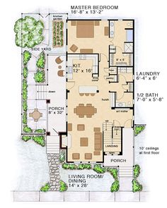 First Floor Plan of Bungalow Coastal Cottage Country Farmhouse Traditional House Plan 30501