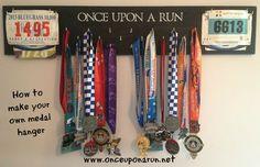 Marathon medal display board - love this! Medal Hanger, Crafti Craft, Bib Display, Bib Hanger, Bibs, Marathon Medal Display, Hangers, Diy, Decor Idea