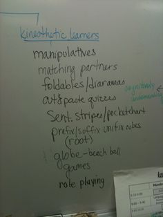 reminder of activities for kinesthetic learners
