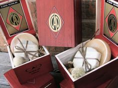 Groomsmen Shaving 4 piece set Wooden Men's Shave Set with Cigar Box. $145.00, via Etsy.