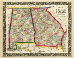Vintage state map of Alabama and Georgia - my states.