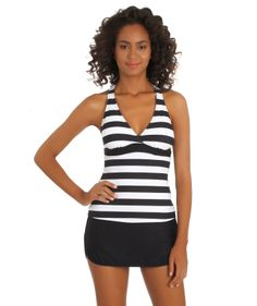 Next Lined Up Racerback Tankini and Black Swim Skort
