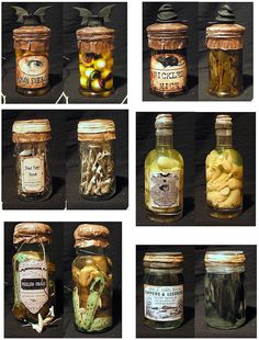 Find those little mice, spiders, eyeballs, etc that they put out on Halloween, put them in a jar with some yucky liquid, slap a label on it, then wax the top on.  :)