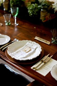 My Paradissi: A French country wedding.  I like the Scrabble tiles for a place setting.